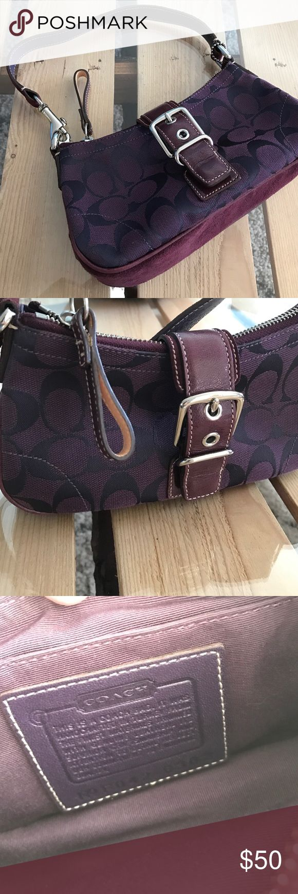 Coach Bag Mint condition purple, suede authentic Coach bag. Holds a special place in my heart since it was my very first designer bag ❤️ beautiful eggplant color with no imperfections. Comes with duster for storing. Beautiful for a fall wardrobe! Smoke free / pet free home. Fast shipping! 📦 Coach Bags Mini Bags
