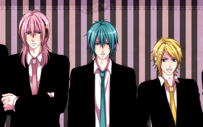 Download wallpapers Vocaloid, anime characters, Kaito, Len Kagamine, Akaito