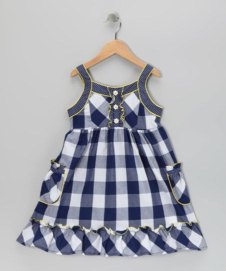 Youngland Navy & White Plaid Dress - Girls | zulily