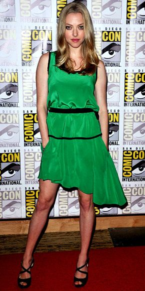 Amanda Seyfried promoted In Time at the San Diego Comic Con in a jade green Prabal Gurung dress and patent Prada sandals.