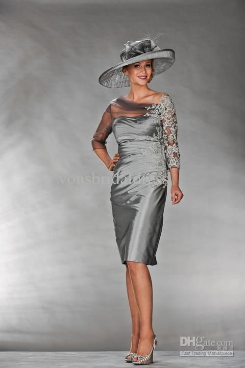 Perfect mother of the bride dress! Tea Length Dress with 3/4 Sleeves A Line Boat Neck Applique Bead...