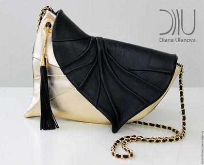 Женские сумки ручной работы. Ярмарка Мастеров - ручная работа. Купить в наличии Лист клатч черно-золотой. Handmade.