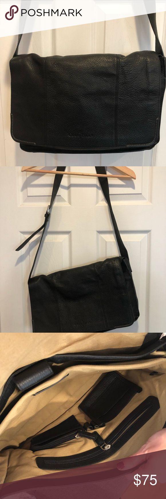 Cole Haan Black Leather Laptop Messenger Bag Very lightly worn black leather messenger bag either adjustable buckle strap Cole Haan Bags Laptop Bags
