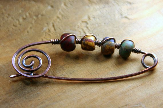 Shawl Pin Hammered Copper Kilt Style Pin by AllowingArtDesigns, $24.00