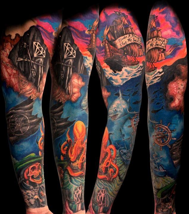 Pirate Ship Tattoo Sleeve Inspiration. Maybe a Mermaid and a Sailor trying to get back to the surface