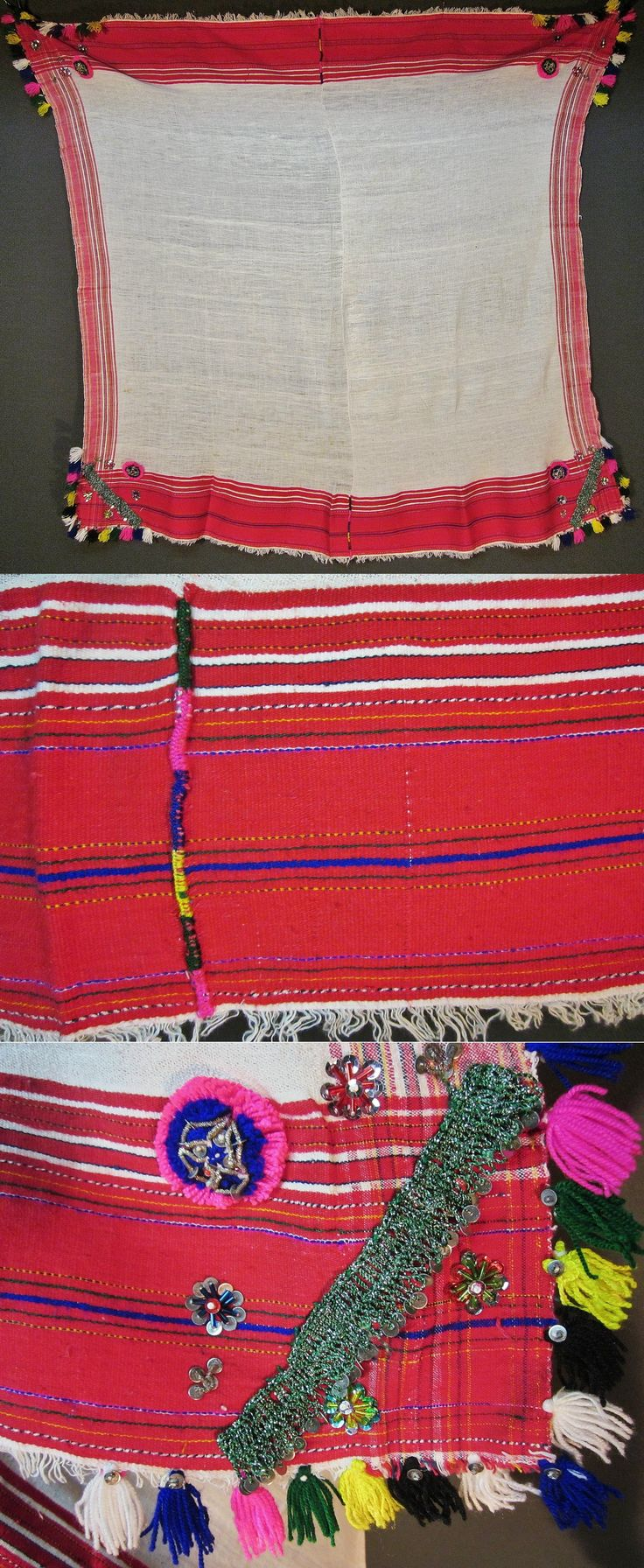 Traditional cotton 'yazma' (headscarf) from the Pomak villages in the Biga district (Çanakkale province).  Part of a bridal/festive costume, 1950-1975.  The corners are adorned with short ribbons of cotton crochet lace, small metallic spirals, cylindrical glass beads, sequins (both metal and mica) and cotton tassels & pom-poms,   (Inv.nr. yaz094 - Kavak Costume Collection - Antwerpen/Belgium).