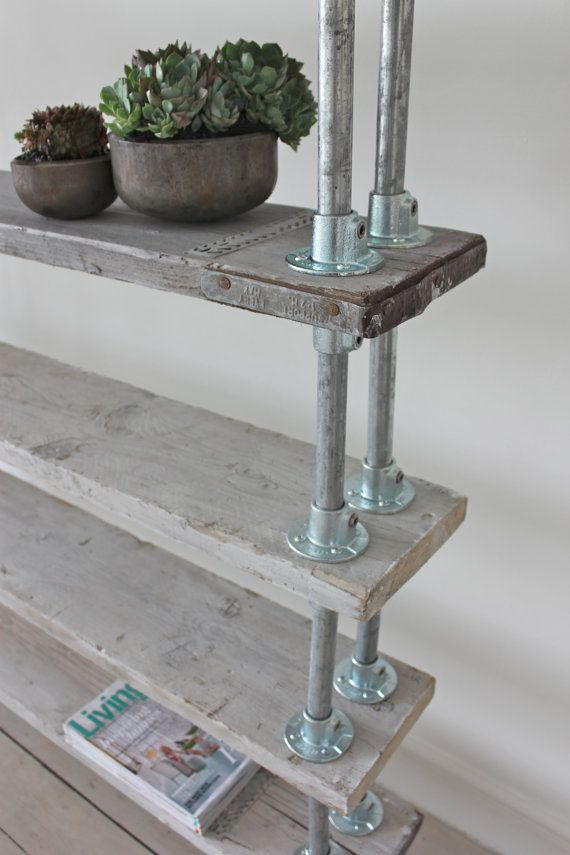 Reclaimed Whitewashed Scaffolding Boards, tube and fittings for a country chic shelving unit
