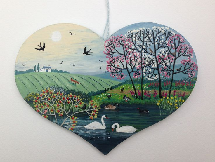 Spring River - mixed media on a large wooden heart. (Commission-SOLD)