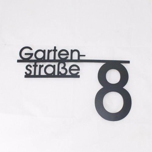Edelstahl Hausnummernschild mit Straßenname Design4 grau