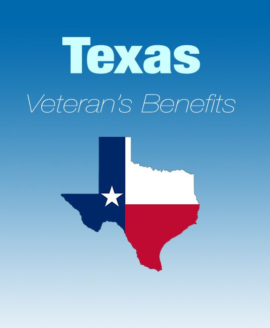 Texas state and local veteran's benefits including education, employment, healthcare, home loans, tax exemptions, recreation, and much more.