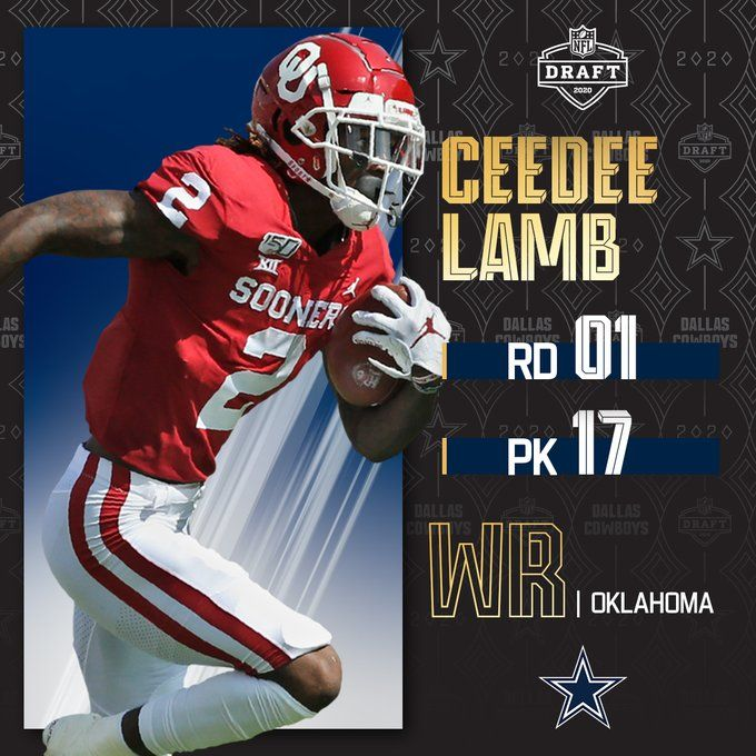 With The No 17 Pick The Dallascowboys Select Ou Football Wr Ceedee Lamb By Bose Nfl Football Wallpaper Nfl Oklahoma Sooners Football