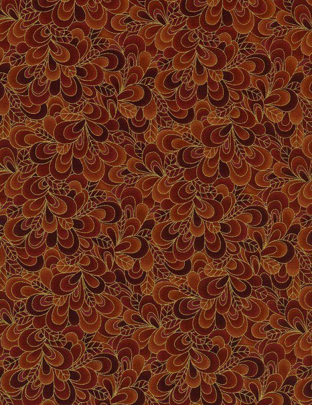 Timeless Treasures Fabrics: Eden Petals Shimmer-CM9297-Rust