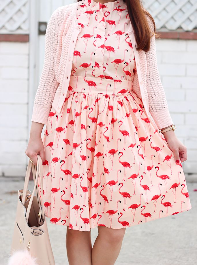 Flamingo Print Flare Dress 1