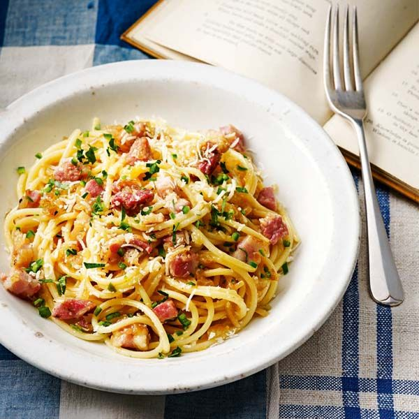Heston adds fresh green chilli to his carbonara recipe for a kick.