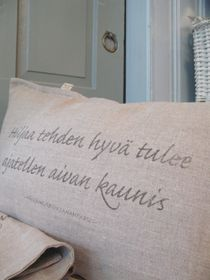 Rustic linen pillow covers at Keltainen Talo / The Yellow Country House in Pälkäne, Finland.