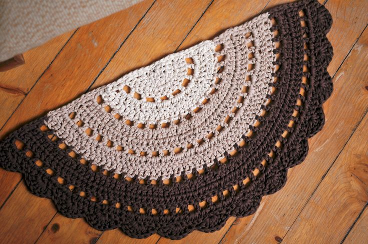 Crochet half circle rug small boho rug by WildFlowersCrochet