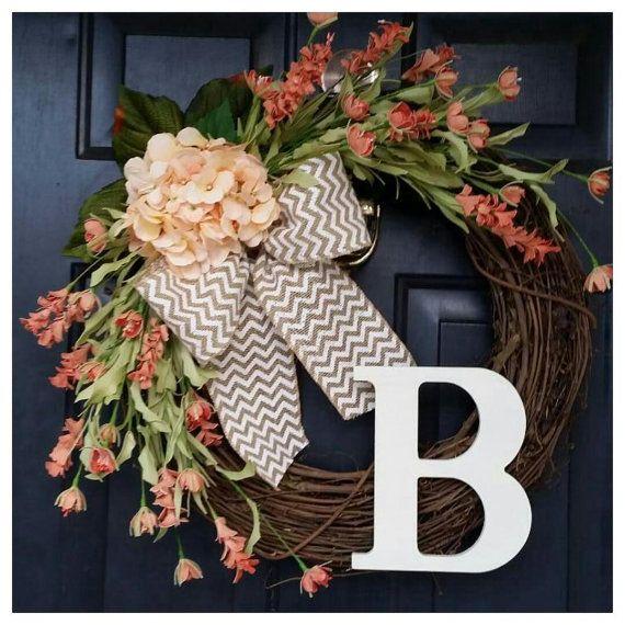 coral wreath door wreath spring wreath by AutumnWrenDesigns