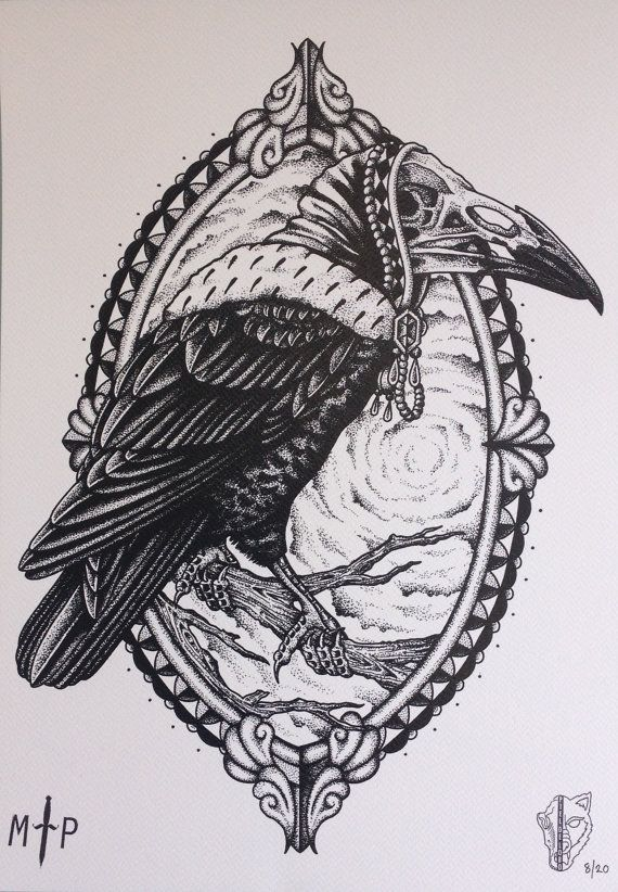Crow Art Print Black And White Hood Exclusive Deisgn By