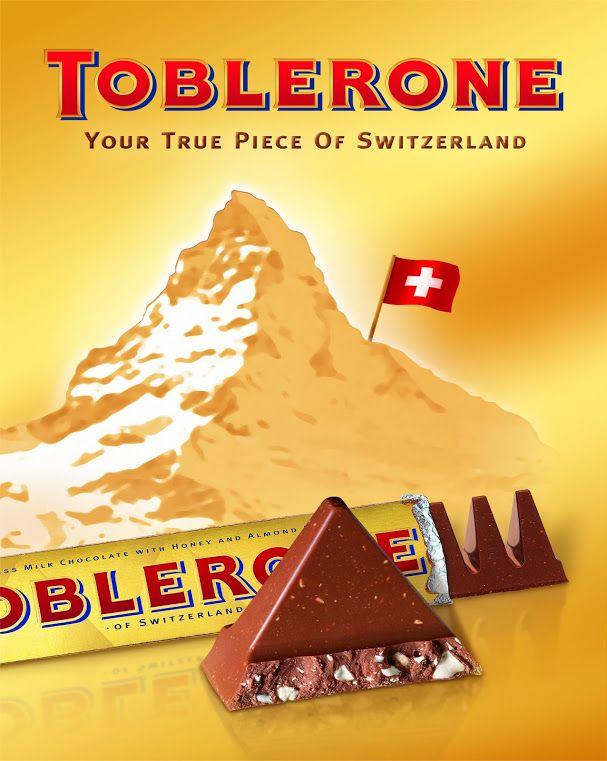 Toblerone - on trouve aussi du design culinaire das la grande distribution : Toblerone se distingue par sa forme en montagne de toutes les autres tablettes de chocolat.