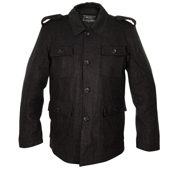 Men's Black Military Wool Hip Length Coat