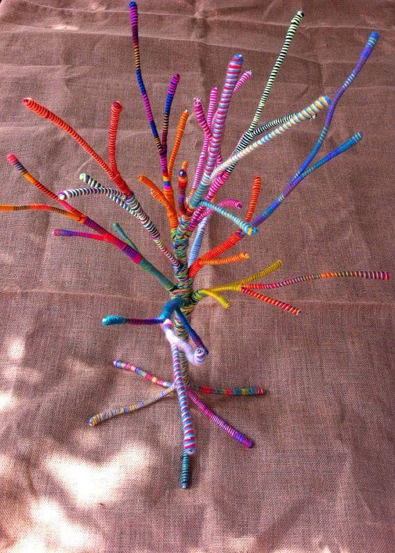 Colourful Tree Wrapped in Wool Christmas by HandmadeByNehaBajaj