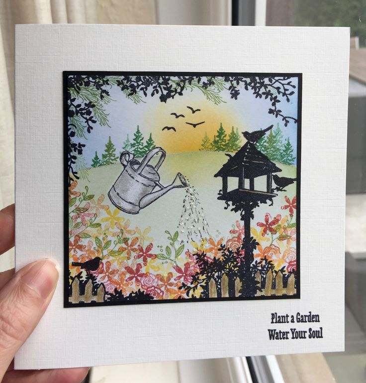 My Dad's birthday card. Claritystamp Birdhouse set with old Morsels flower stamps.