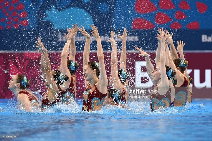 Great Britain compete in the Synchronised Swimming Free Combination quailification during day one of the Baku 2015 European Games at Baku Aquatics Centre on June 13, 2015 in Baku, Azerbaijan.