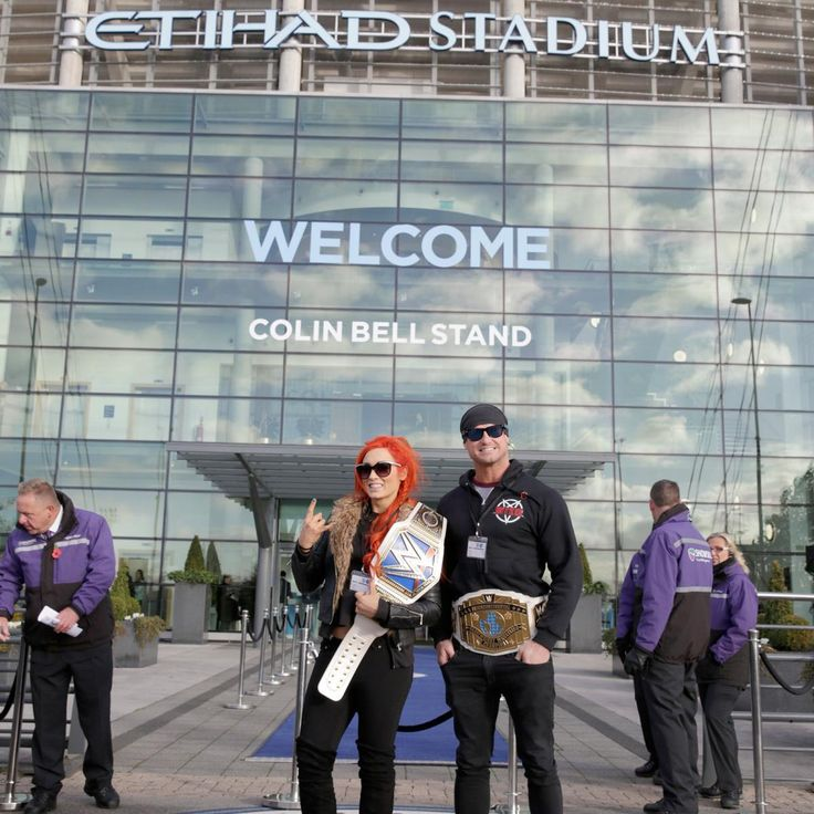 Dolph Ziggler and Becky Lynch hit the pitch with the Manchester City Football Club: photos