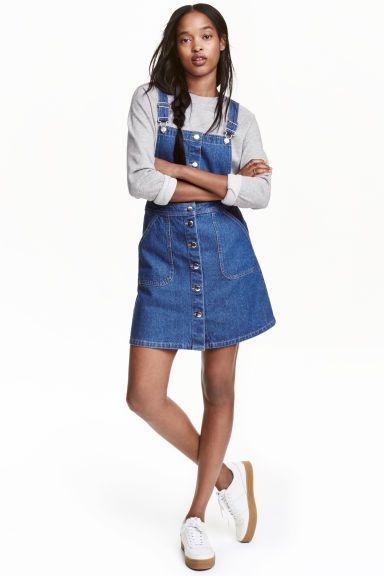 Denim dungaree dress: Short dungaree dress in washed denim with adjustable…