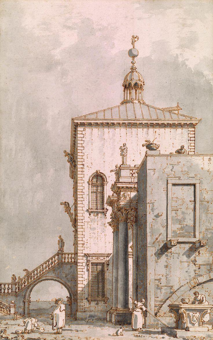 Canaletto | 1697-1768 | Capriccio: Pavilion by the Lagoon. Verso: Sketch of a Festal Gondola | The Morgan Library & Museum