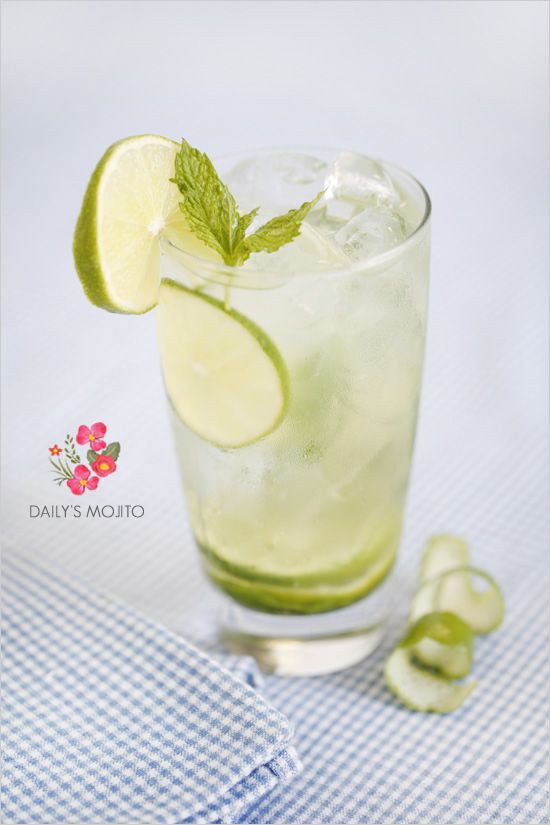 Daily's Mojito  2 ½ oz. Daily's Mojito Mix  1 ¼ oz. white rum  Fill glass with soda  Garnish with a fresh mint sprig and a lime squeeze.  Daily's already muddled the mint and limes, you just need to add the rum. Refreshing, decadent amazing.