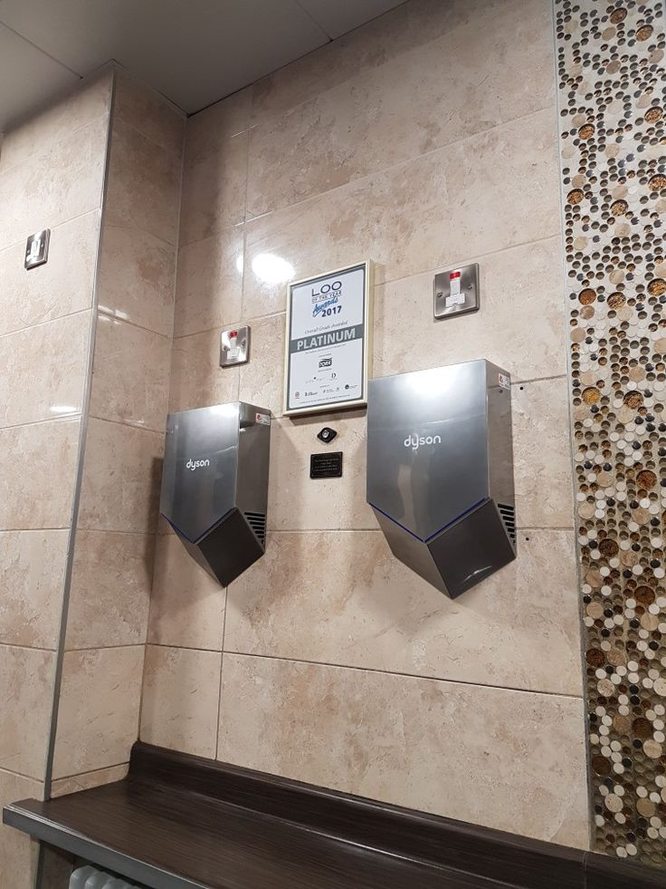 Dyson Airblade V HU02 Sprayed Nickel installed at Buttercrane Shopping Centre. Loo of the Year Platinum Award winners 2017.