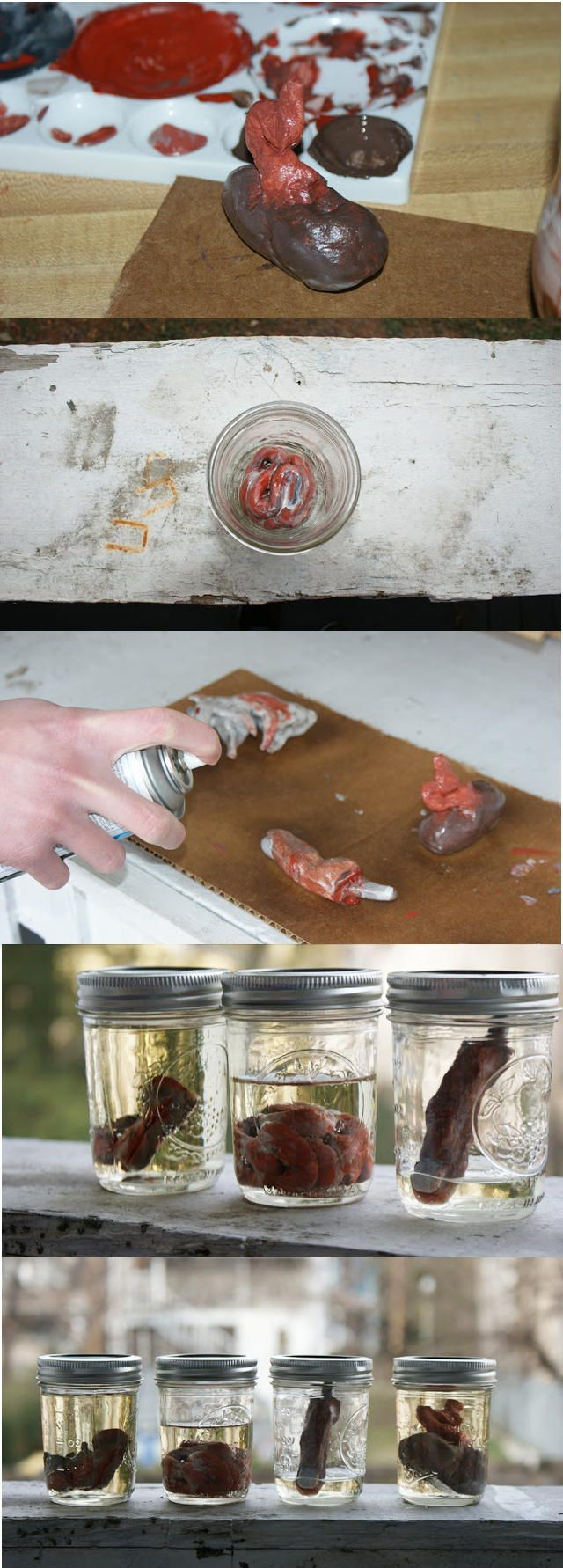 DIY Halloween Decor // Create these creepy mason jars filled with fake preserved organs inspired by the first season of American Horror Story for Halloween!
