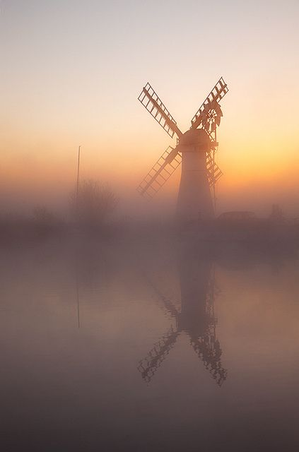 Dawn in Thurne Windpump, River Thurne on the Norfolk Broads, England