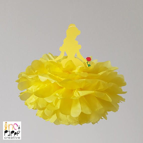 Beauty and the Beast party decoration/Belle Disney princess birthday party supplies/tissue pompom/fairytale birthday decoration