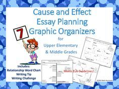Need help with organizing cause and effect essays? These 7 charts will guide students through planning and pre-writing cause and effect essays. Step-by-Step graphic organizers with note about cause and effect definitions, paragraph writing tip, and writing challenge to reorganize the essay on each handout.Excellent for assessment practice, college test prep, standardized test prep, and expository writing.
