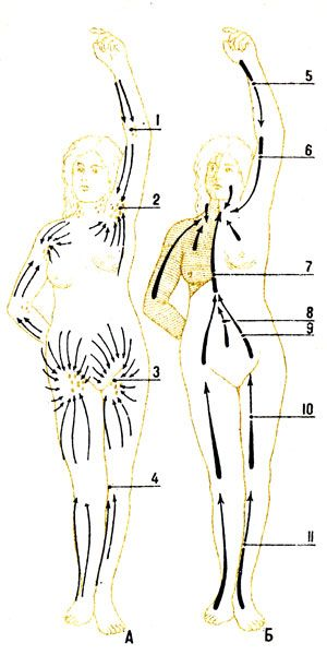 Рис. 97. Схема направления тока лимфы от областей тела: А - схема расположения лимфатических узлов, Б - схема оттока лимфы от областей тела в грудной проток и правый лимфатический проток (заштриховано): 1 - шейные узлы; 2 - подмышечные узлы; 3 - паховые узлы; 4 - локтевые узлы; 5 - правый поясничный ствол; 6 - левый поясничный ствол; 7 - кишечный ствол; 8 - грудной проток; 9 - место впадения грудного протока в левый венозный угол; 10 - место впадения правого лимфатического протока
