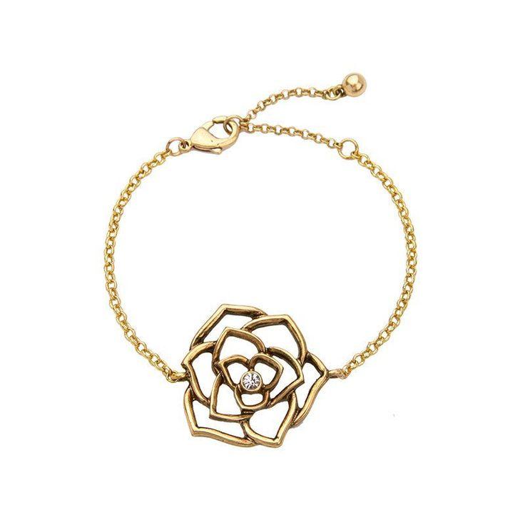 Fashion Bracelet - Thenga Romantic Gold-Plated Flower In Chain Bracelet