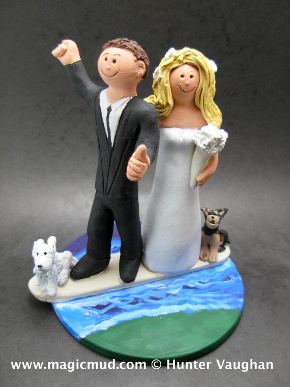 Surfer Figurine    Surfing Wedding Cake Topper, custom created for you! Perfect for the marriage of a Surfer Groom and his Bride!    $235   #magicmud   1 800 231 9814   www.magicmud.com