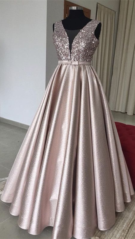 Luxurious Sequins V-neck Bow Sashes Prom Dresses Ball Gowns