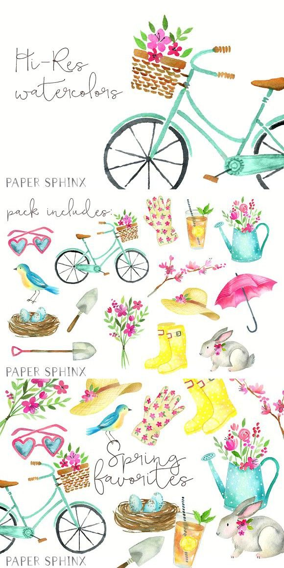 Watercolor Spring Clipart Spring Clipart Hand Painted Card