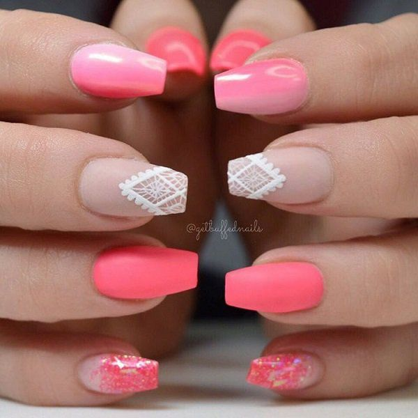 The middle and pinky nails would both be nice with bright pink nails.  The effect on the index could be modified to nude/ light pink/ pink/ bright pink ombre across the fingers rather than down the nails.