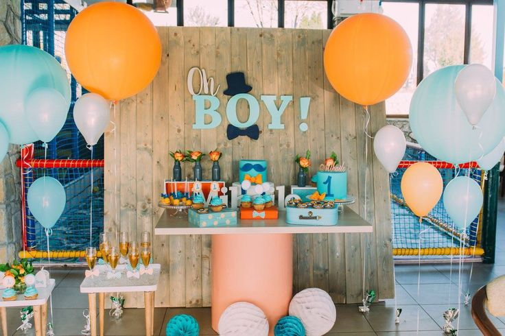 Oh boy little gentleman birthday party!  Orange, mint and navy blue color palette. First birthday decoration for baby boy! Little tie party. Little gentleman birthday cake.