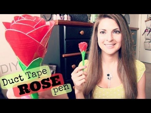 Duct Tape Rose Pen - How To - Realistic // Rounded Flower