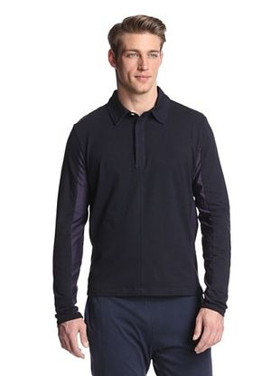 79% OFF Number Lab Men's Jersey Tech Long Sleeve Polo (Navy)