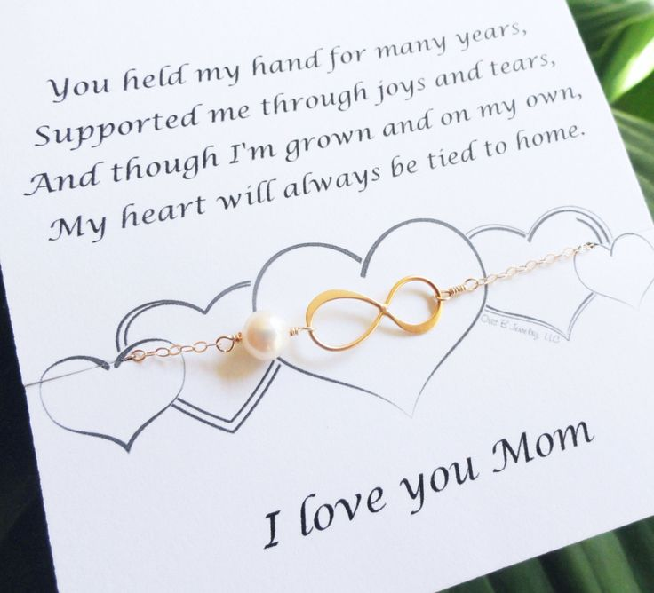 Mothers card with GOLD infinity bracelet pearl by BriguysGirls, $31.50