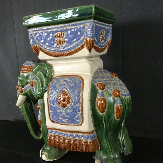 Vintage 13'' hoge keramische Aziatische olifant