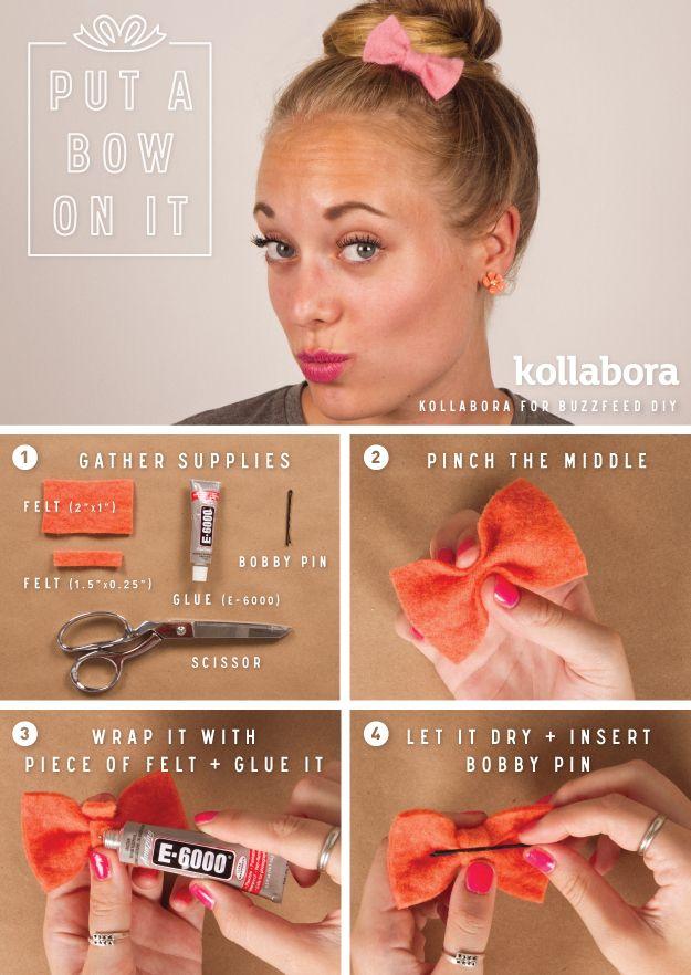 Felt Hair Bow I 10 DIY Ways To Put A Bow On It