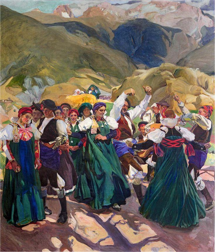 Este cuadro del pintor famoso Español Joaquín Sorolla muestra la tradición de baile se llama Jota. El estilo es impresionismo. Podemos ver la naturaleza de Aragón en las montes y la cultura rica y tradición de este lugar.