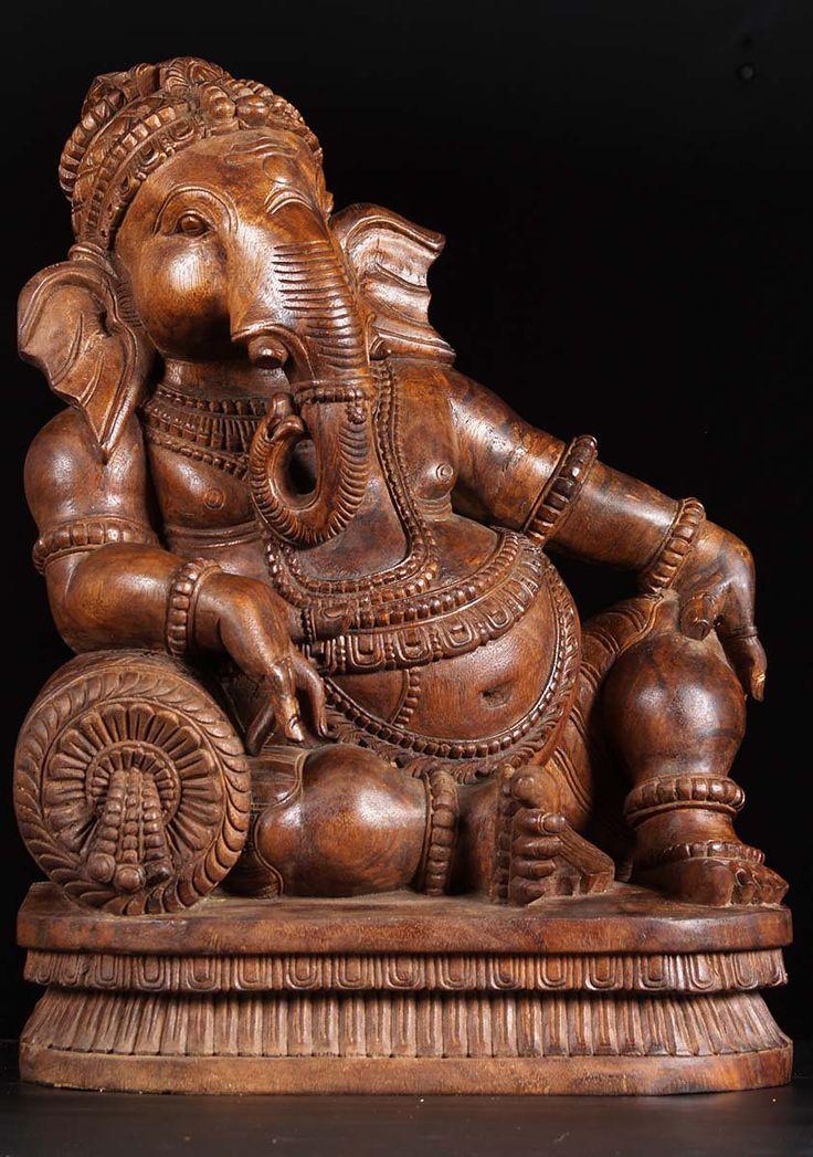 View the Wooden Dhindu Ganesh Statue 24